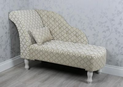 Beige Cream Patterned Linen Upholstered Fabric Chaise Longue Sofa Chair (Z889)