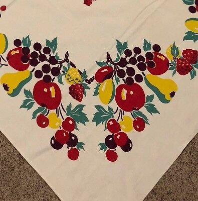 Vtg Kitchen Tablecloth Fruit Berry Cherries Apple Print White Red Teal 1950s MCM