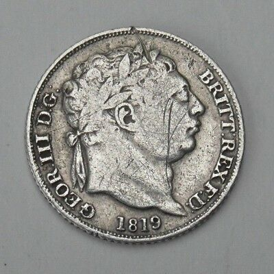 Collectable 1819 King George III Silver Sixpence - Crown Shield In Garter