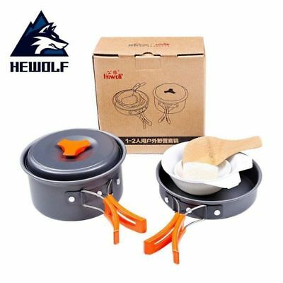 Hewolf 6Pcs/Set 1-2 People Aluminmum Portable Outdoor Camping Hiking Cookware Ba