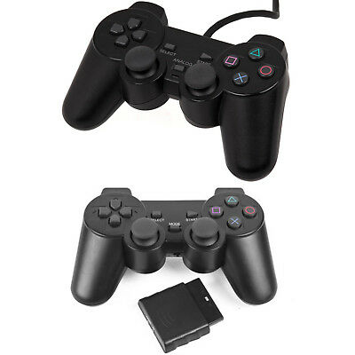 Wireless, Wired Controller For Ps2 Playstation 2 Black Dual Shock Joypad Gamepad