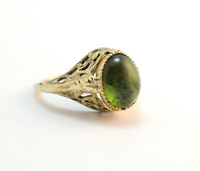 Art Deco Cabochon Green Tourmaline Filigree Ring 14k Yellow Gold Size 4.5