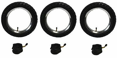 3 x Phil & Teds DASH Off Road PUNCTURE PROTECTED Pram Tyres & Tubes Set