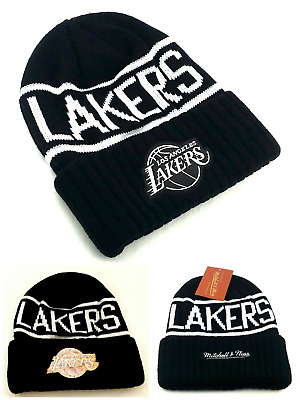 Los Angeles Lakers New Mitchell & Ness Black Reflective Beanie Era Hat Cap Knit