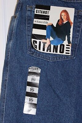 NWT Gitano Vintage style Womens Jeans relaxed fit medium wash tapered 16 P (267)