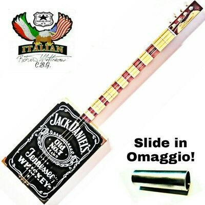 Cigar Box Guitar Jack Daniel' 4 corde pick-up precision by Robert Matteacci