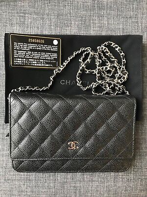 38df50230aaa CHANEL WOC Wallet On Chain Black Caviar Silver Hardware NWT and receipt