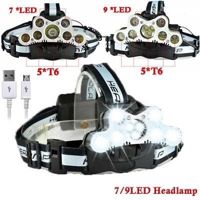 Headlight 100000LM 7/9 T6 LED Headlamp Torch 18650 USB Rechargeable Flashlight