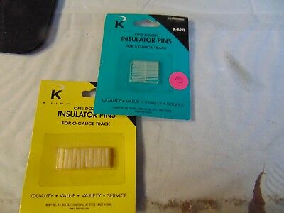 K line, Insulator pins, 2 pks, one O gauge, one s gauge, one dozen in each, NEW