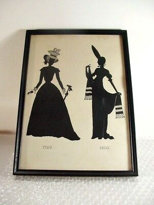 Lot #8:  Antique Framed Silhouette Victorian Ladies Period Dress: 1789-1800 11+""