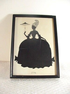 Lot#5 Antique Framed Silhouette Victorian Or Earlier Lady Period Dress 1774