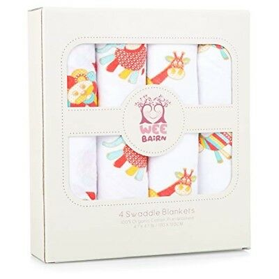 100% Cotton Muslin Swaddle Blankets with Cute Star Designs - 3 pack