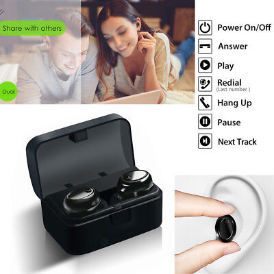 Mini Twins True Wireless Bluetooth Stereo Headset In-Ear Earbuds for Samsung S9