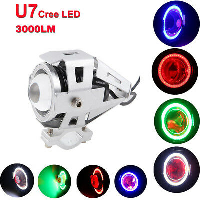 Pair Motorcycle Angel Eye U7 LED 125W Work Lamp Headlight Driving Fog Spot Light