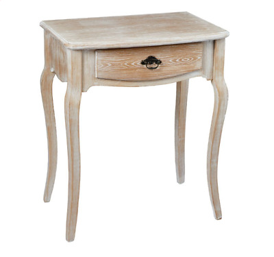 Limed Oak Shabby Chic Country Style 1-Drawer Lamp Side End Bedside Table