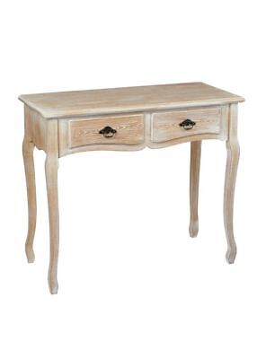 Limed Oak Shabby Chic French Country Console Side Hall Table With Drawers