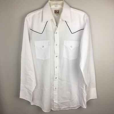 Ely Cattleman White Western Shirt Faux Pearl Snap Long Sleeve Black Piping Med