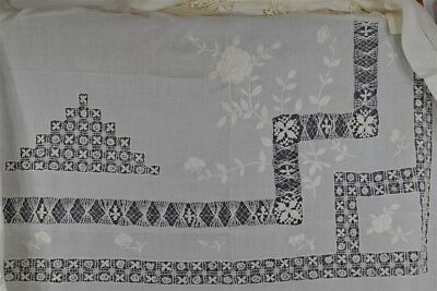 table cloth white cotton line hand made drawn lace emboridered 68x72 antique