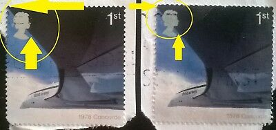 2 Used Gb Error/variety Commemorative 2002 Concorde 1St Class Stamps Wing Hi/lo