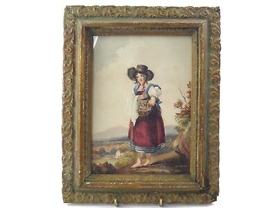 Antique 19th century primitive watercolour painting lady with basket of flowers