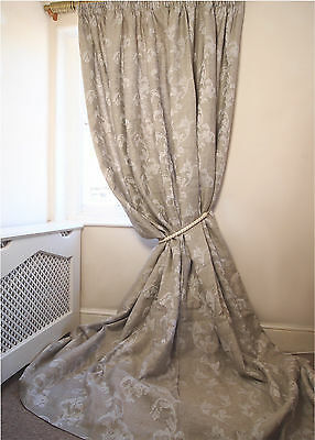 LUXURY Floral Damask 100% Linen INTERLINED Lined huge Long QUALITY CURTAINS