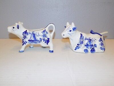 Blue and White Cow Creamer and Sugar Bowl w/ Spoon Windmill Floral