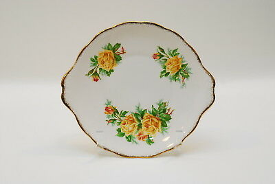 2 Royal Albert Yellow Tea Rose 10 Inch Handled Cake Plates