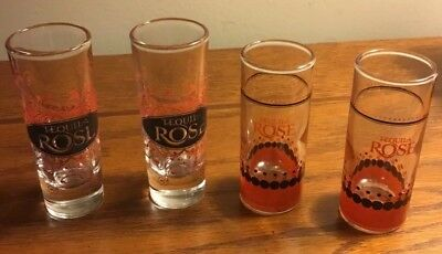 """4 Tequila Rose Tall Shot Glasses Black & Red (2) 4 1/8""""  (2) 3 3/4"""""""