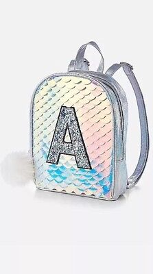 New! Justice Girls Shiny Mermaid Scale Mini Backpack Initial K