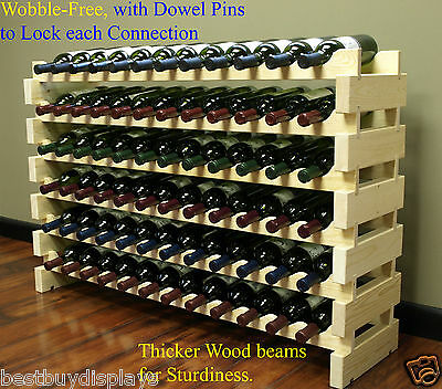 Very Sturdy 72 Bottles Wine Rack Stackable Storage 6 Tier Shelves Stand WN84