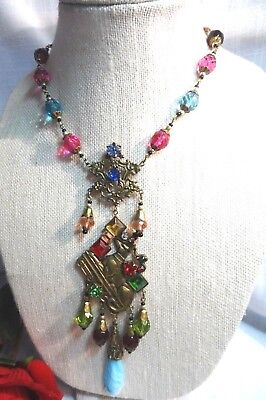 Vintage Art Deco CZECH  Multi-color Egyptian Revival Necklace- Anubis ~GORGEOUS!