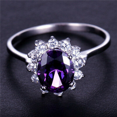 Handmake Natural 2.5CT Amethyst 7*9mm 14K White Gold Ring Size US7