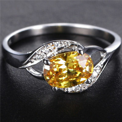 Natural 0.8CT Natural Yellow Topaz Cute 6*8mm 14K White Gold Ring Size US7