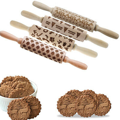 3D Christmas Cookies Cake Baking Rolling Pin Wooden Xmas Tree Embossing Roller
