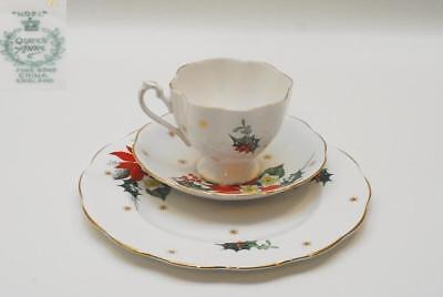 3 Pc Queen Anne NOEL Trio Set Cup & Saucer + 8.25 Inch Salad/Luncheon Plate