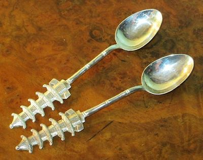 TACK HING Antique Chinese (Hong Kong) Pair of Sterling Silver Tea Spoons