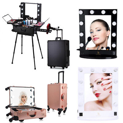 Various Hollywood Mirror Rolling Makeup Case Wheeled Trolley Portable Train Box