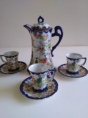 Vintage Japanese Hand Painted porcelain teapot: 3 cups/3 saucers