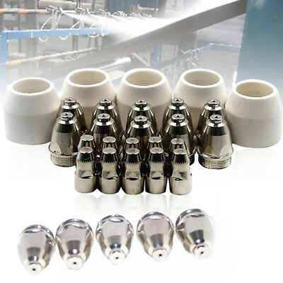 25pcs P-80 Torch Plasma Cutter Cutting Consumable Nozzle/Tip Electrode Cups