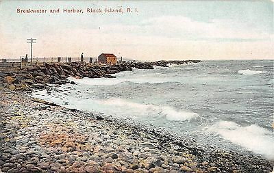 c.1910 Breakwater Old Harbor Block Island RI post card