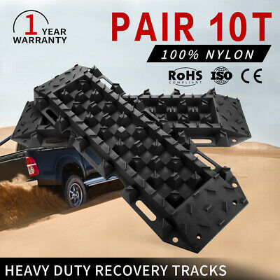 Black 4x4 Recovery Tracks Off Road 4WD Sand Snow Mud 10 Ton Tyre Ladder Pair