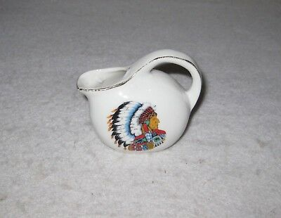 Small Ceramic Jug Indian Head Pitcher with Handle Shelf Decor 3""