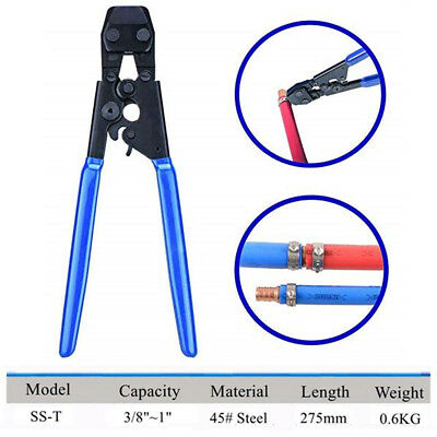 """PEX Clamp Cinch Crimp Crimper Tool for St. Steel Clamps Sizes from 3/8"""" to 1"""""""