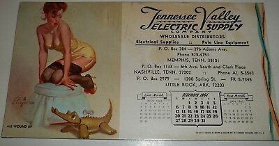 Vintage Tennessee Valley Electric Supply Memphis TN Ink Blotter 1964 Pinup Girl