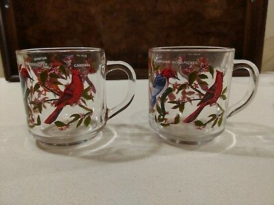 Pair of Vintage Glass Bird Mugs - Cardinal, Blue Jay, Oriole & Woodpecker