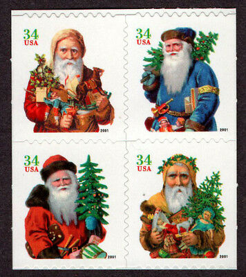 USA, Scott # 3541-3544 (3544A), BOOKLET PANE OF 4 STAMPS - SANTA CLAUS, MNH