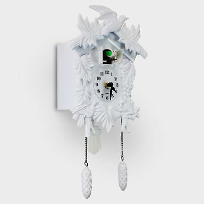 Cuckoo Wall Clock White Wall Mounted Living Room Home Decor Traditional Style UK