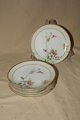 """Lot Of 6 6 1/4"""" Bread And Butter Plates Morimura Nippon Green Mark"""