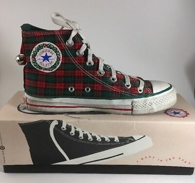 98bd488f9e1127 1980s Vintage Converse All Star CHRISTMAS Hi Top Sneakers Shoes Women s 7.5  USA