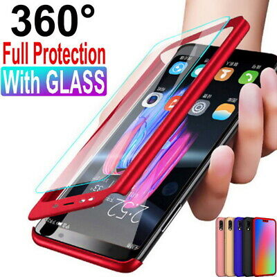 For Samsung Galaxy A8 A6 A7 J4 J6 2018 360° Full Cover Phone Case+Tempered Glass